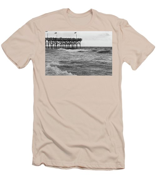 Men's T-Shirt (Slim Fit) featuring the photograph Fishing Off The Pier At Myrtle Beach by Chris Flees