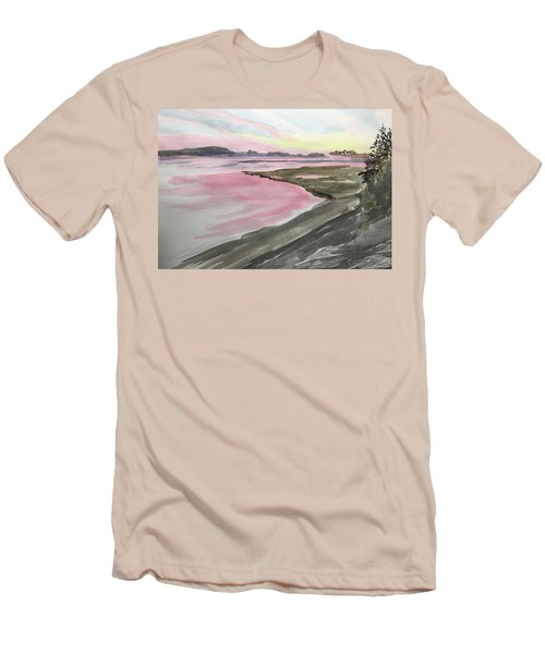 Men's T-Shirt (Athletic Fit) featuring the painting Five Islands - Watercolor Sketch  by Joel Deutsch