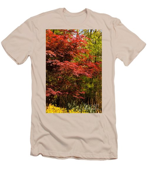 Flame In The Backyard Men's T-Shirt (Slim Fit) by Marilyn Carlyle Greiner