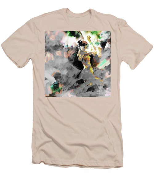 Men's T-Shirt (Slim Fit) featuring the painting Flamenco Dance Art 7u7 by Gull G