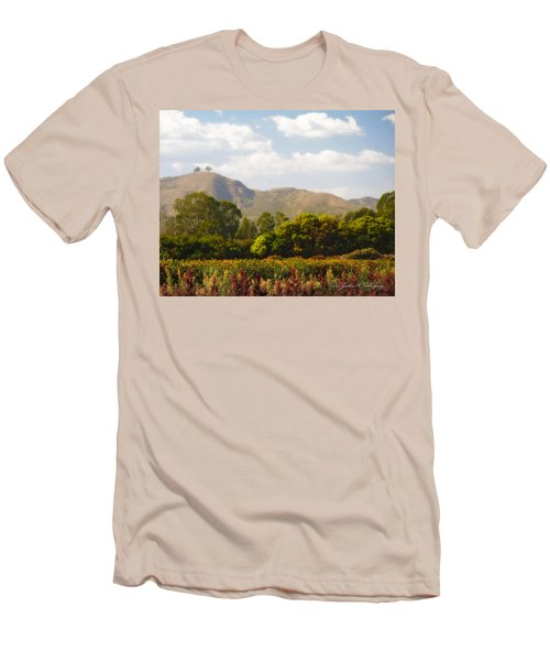 Men's T-Shirt (Slim Fit) featuring the photograph Flowers And Two Trees by John A Rodriguez