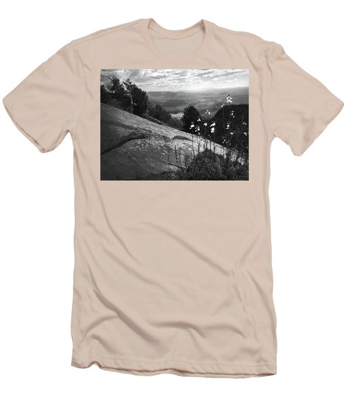 Flowers At Table Rock Overlook In Black And White Three Men's T-Shirt (Slim Fit) by Kelly Hazel