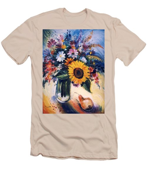 Men's T-Shirt (Slim Fit) featuring the painting Flowers by Mikhail Zarovny