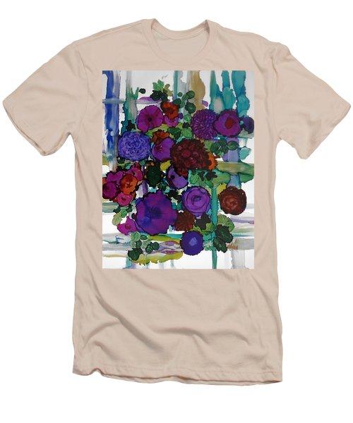 Flowers On Trellis Men's T-Shirt (Slim Fit) by Alika Kumar