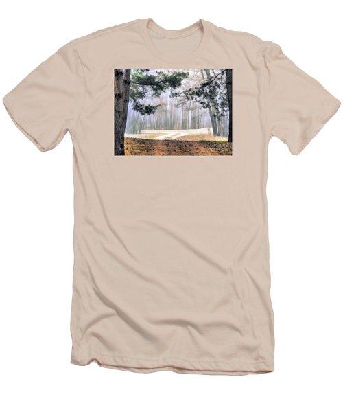 Foggy Autumn Landscape Men's T-Shirt (Slim Fit) by Odon Czintos