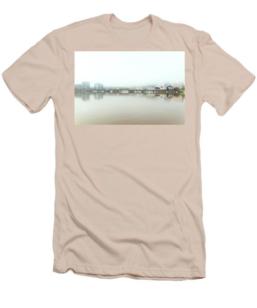 Foggy Day On Portland Downtown Waterfront Men's T-Shirt (Athletic Fit)