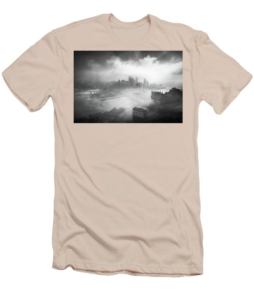 Men's T-Shirt (Slim Fit) featuring the photograph Foggy Pittsburgh  by Emmanuel Panagiotakis
