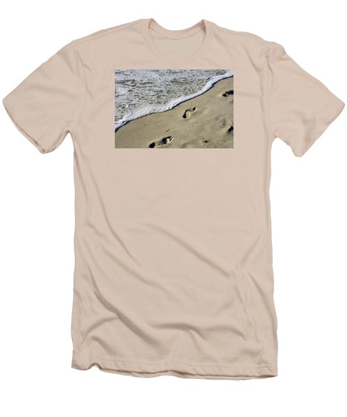 Footprints On The Beach Men's T-Shirt (Slim Fit) by Robb Stan