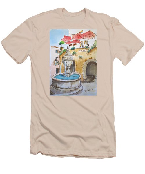 Men's T-Shirt (Slim Fit) featuring the painting Fountain At St Paul De Vence by Marilyn Zalatan
