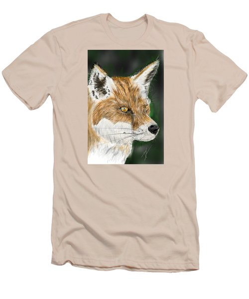 Men's T-Shirt (Athletic Fit) featuring the digital art Fox by Darren Cannell