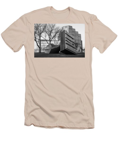 Free Stamp In Cleveland In Black And White  Men's T-Shirt (Slim Fit) by John McGraw