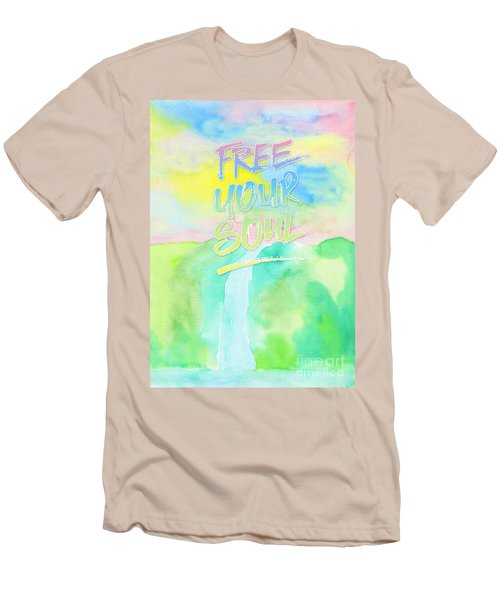 Free Your Soul Watercolor Colorful Spring Waterfall Painting Men's T-Shirt (Athletic Fit)