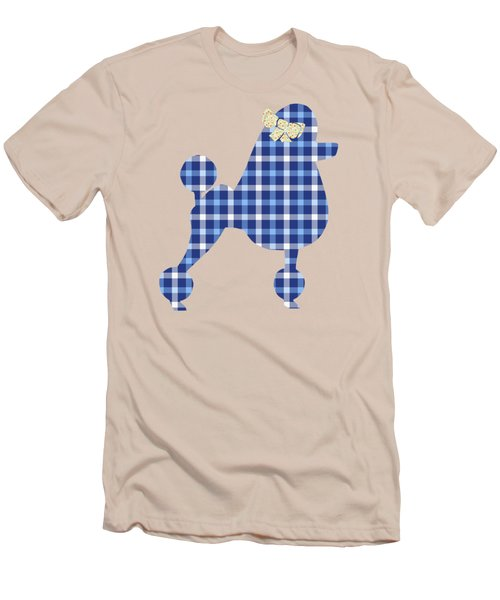 Men's T-Shirt (Slim Fit) featuring the mixed media French Poodle Plaid by Christina Rollo