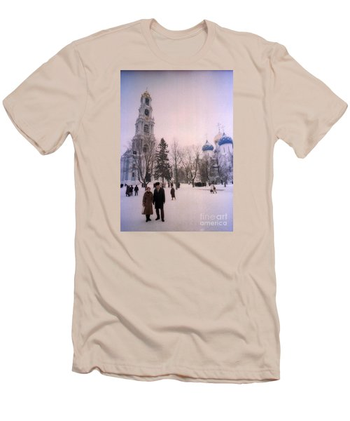 Friends In Front Of Church Men's T-Shirt (Slim Fit) by Ted Pollard