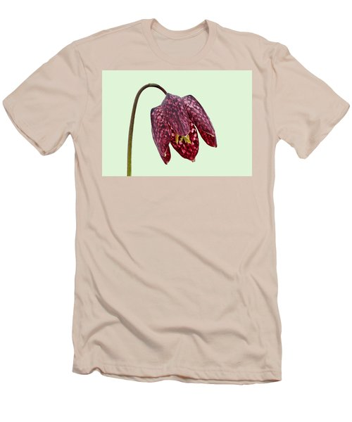 Men's T-Shirt (Slim Fit) featuring the photograph Fritillaria Meleagris Green Background by Paul Gulliver