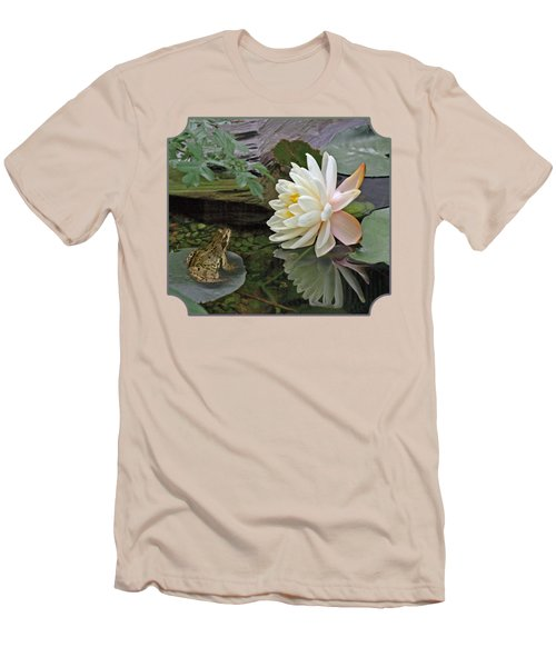 Frog In Awe Of White Water Lily Men's T-Shirt (Slim Fit) by Gill Billington