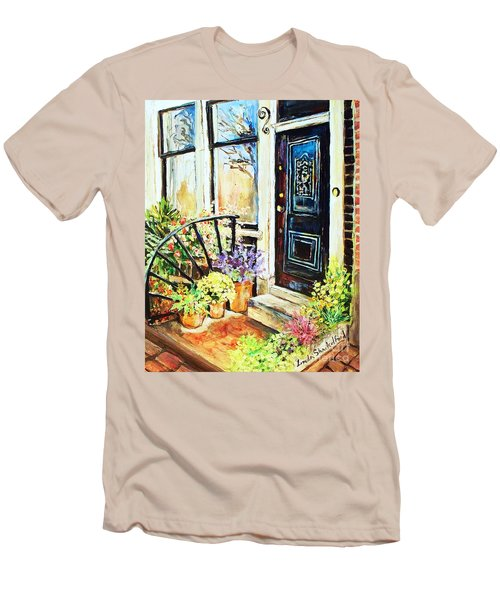 Men's T-Shirt (Slim Fit) featuring the painting Front Porch by Linda Shackelford