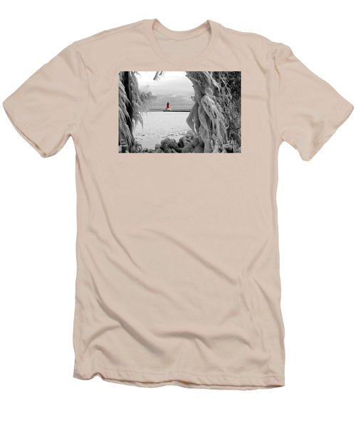 Men's T-Shirt (Slim Fit) featuring the photograph Frozen In Time - Menominee North Pier Lighthouse by Mark J Seefeldt