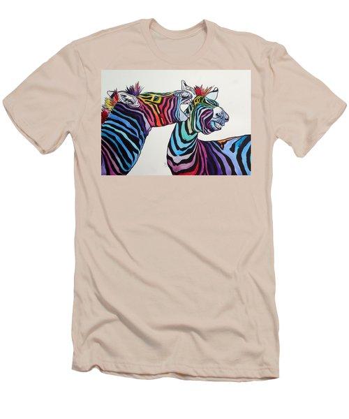 Funny Zebras Men's T-Shirt (Slim Fit) by Kovacs Anna Brigitta