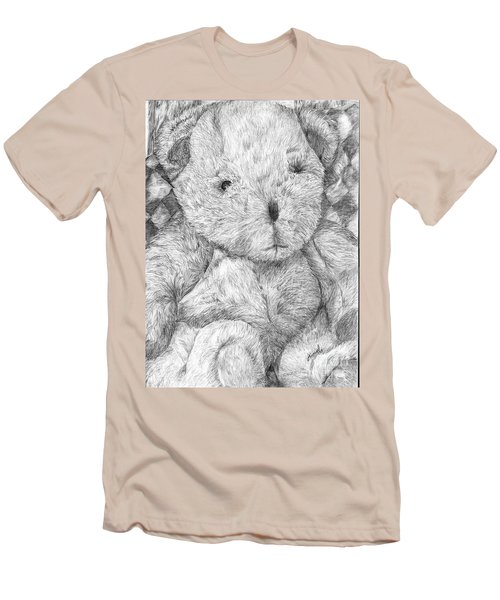 Men's T-Shirt (Slim Fit) featuring the drawing Fuzzy Wuzzy Bear  by Vicki  Housel