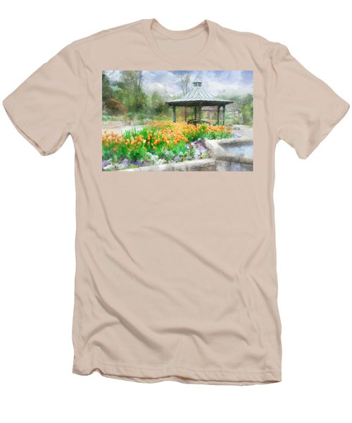 Men's T-Shirt (Slim Fit) featuring the digital art Gazebo With Tulips by Francesa Miller