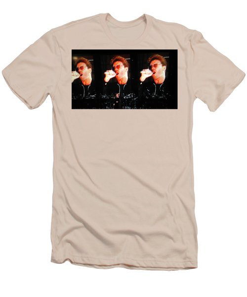 Men's T-Shirt (Slim Fit) featuring the photograph George Michael The Passionate Performer by Toni Hopper