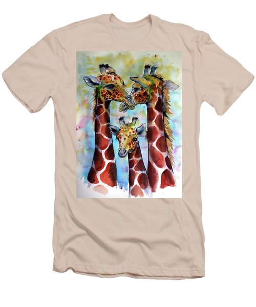 Men's T-Shirt (Slim Fit) featuring the painting Giraffe Family by Kovacs Anna Brigitta