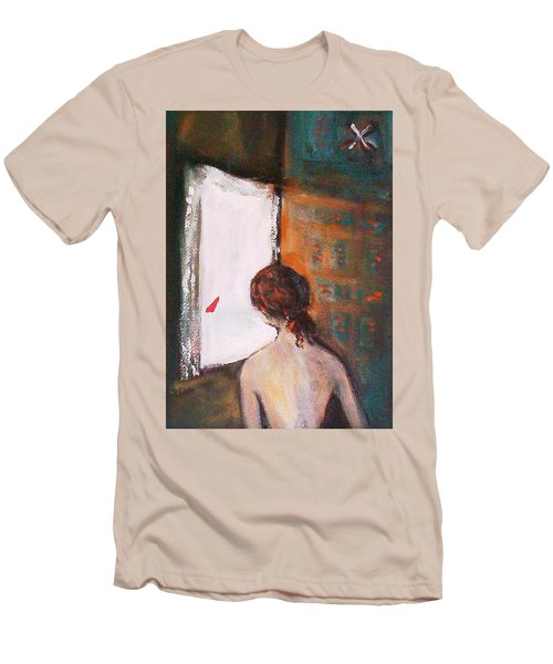 Men's T-Shirt (Slim Fit) featuring the painting Girl At The Window by Winsome Gunning