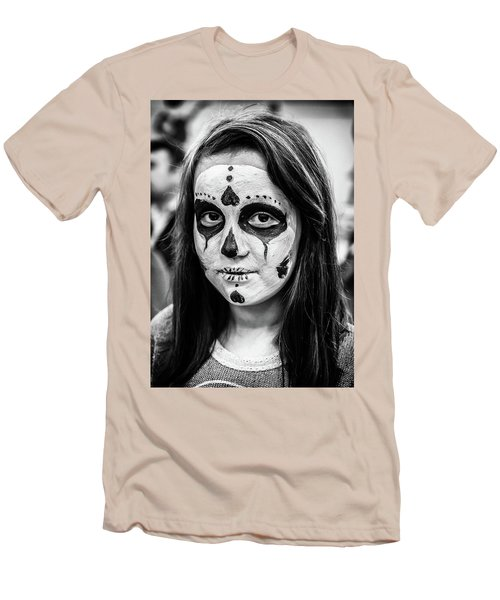 Men's T-Shirt (Athletic Fit) featuring the photograph Girl In Skull Facepaint by John Williams
