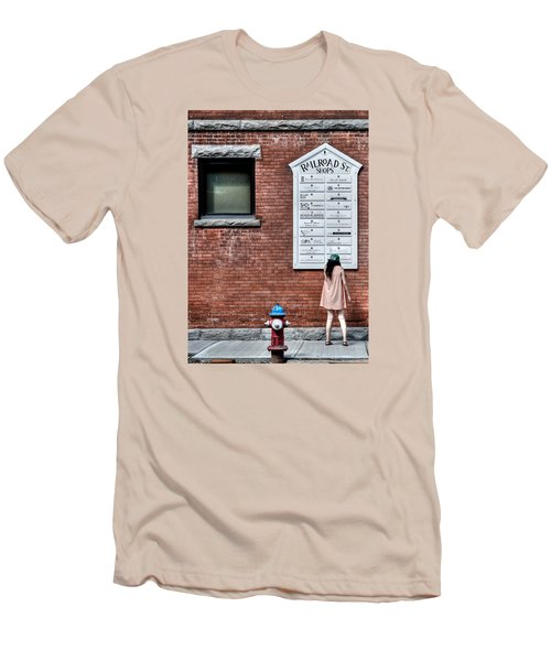 Walking On Railroad Street No. 3 - The Girl In The Polka Dot Dress Men's T-Shirt (Athletic Fit)