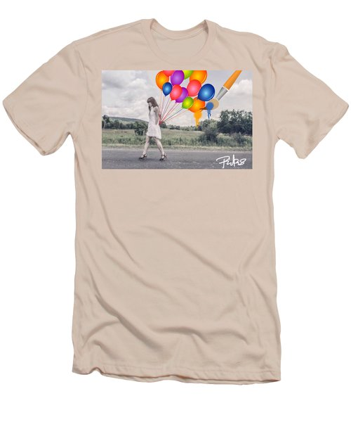 Girl Walking With Ballons #1 Men's T-Shirt (Athletic Fit)