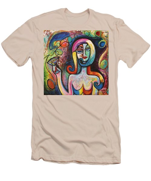 Men's T-Shirt (Slim Fit) featuring the painting Girl With Martini Cocktail Abstract by Genevieve Esson