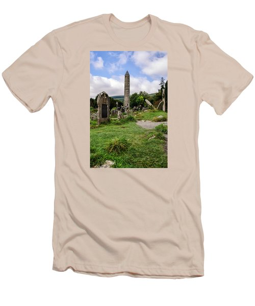 Glendalough Tower Ireland Men's T-Shirt (Slim Fit) by Martina Fagan