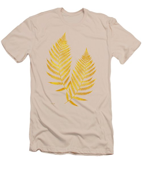Men's T-Shirt (Slim Fit) featuring the mixed media Gold Fern Leaf Art by Christina Rollo