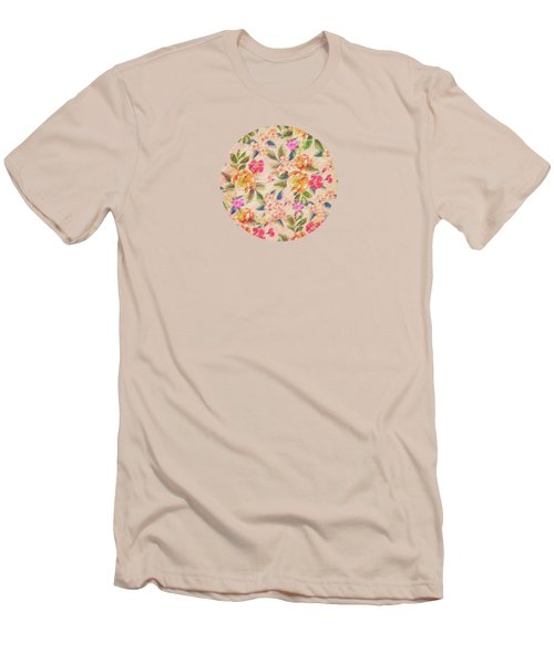 Golden Flitch Digital Vintage Retro  Glitched Pastel Flowers  Floral Design Pattern Men's T-Shirt (Athletic Fit)
