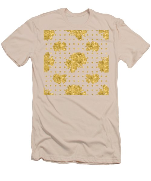Golden Gold Blush Pink Floral Rose Cluster W Dot Bedding Home Decor Men's T-Shirt (Slim Fit) by Audrey Jeanne Roberts