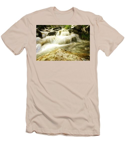 Golden Waterfall Men's T-Shirt (Slim Fit) by Carol Crisafi