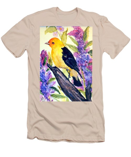 Men's T-Shirt (Slim Fit) featuring the painting Goldfinch by Gail Kirtz