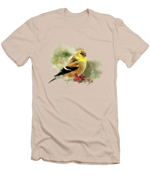 Goldfinch Watercolor Art Men's T-Shirt (Slim Fit) by Christina Rollo