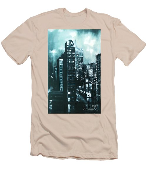 Men's T-Shirt (Slim Fit) featuring the painting Gotham Painting by Maja Sokolowska