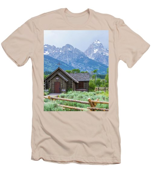 Grand Teton Church Men's T-Shirt (Slim Fit) by Dawn Romine