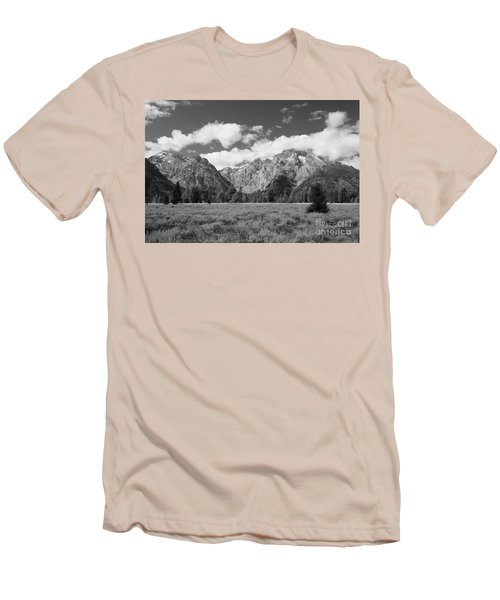 Grand Tetons In Black And White Men's T-Shirt (Athletic Fit)