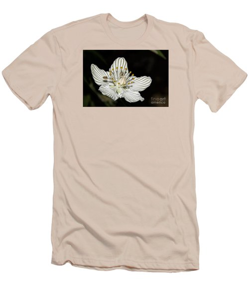 Men's T-Shirt (Slim Fit) featuring the photograph Grass Of Parnassus by Barbara Bowen