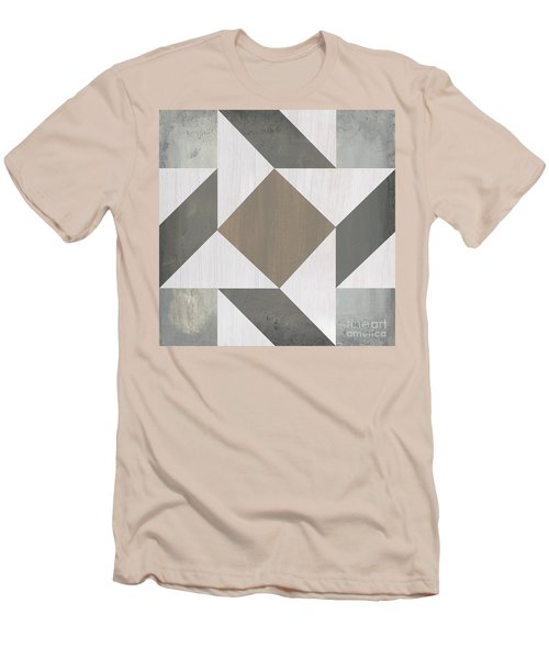 Men's T-Shirt (Slim Fit) featuring the painting Gray Quilt by Debbie DeWitt