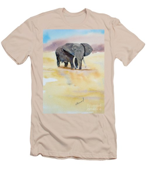 Men's T-Shirt (Slim Fit) featuring the painting Great African Elephant  by Vicki  Housel