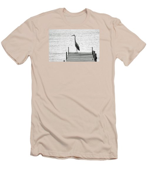 Great Blue Heron On Dock - Keuka Lake - Bw Men's T-Shirt (Slim Fit) by Photographic Arts And Design Studio