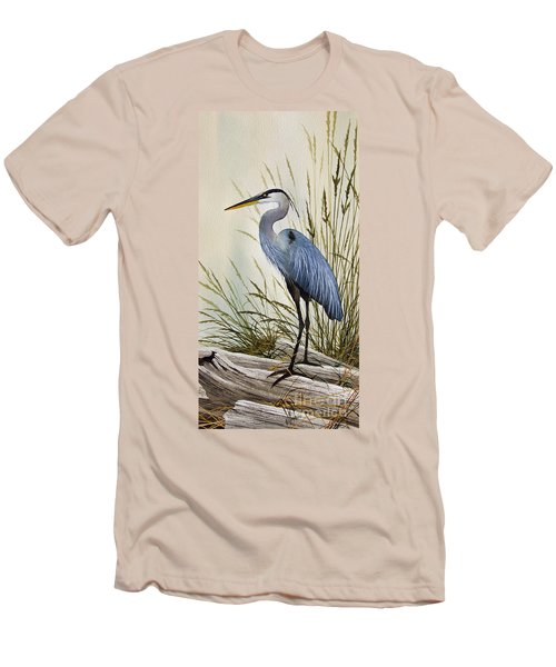 Great Blue Heron Shore Men's T-Shirt (Slim Fit) by James Williamson
