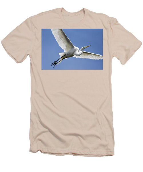 Great Egret Soaring Men's T-Shirt (Slim Fit) by Gary Wightman