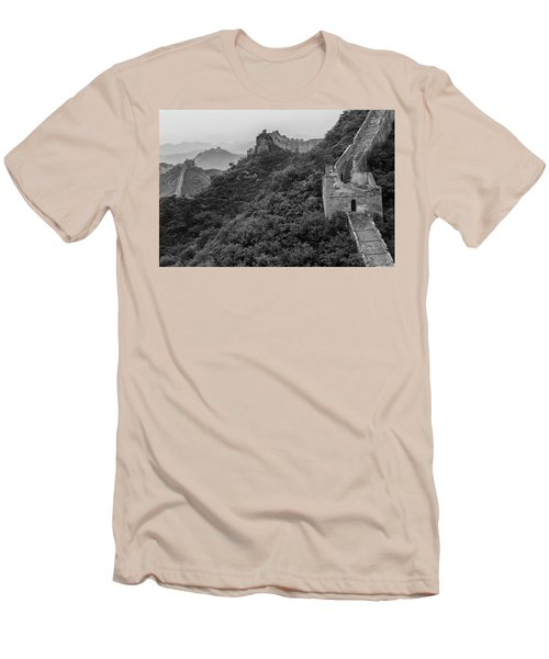 Men's T-Shirt (Slim Fit) featuring the photograph Great Wall 3, Jinshanling, 2016 by Hitendra SINKAR