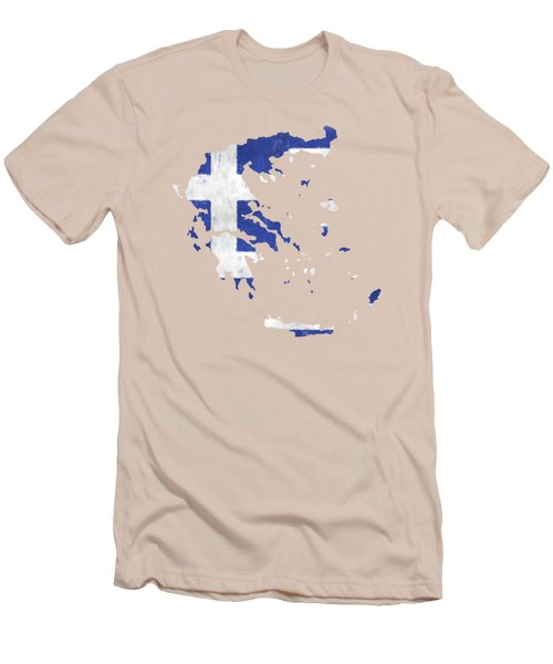 Greece Map Art With Flag Design Men's T-Shirt (Athletic Fit)